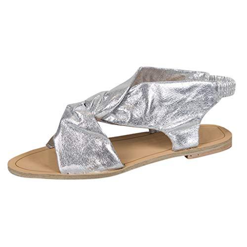 Damen Sandalen,Beikoard Casual Peep Toe Beach Sandalen Offene Zehe Slip On Flat mit Schuhen Wanderschuhe Strand Schuhe Freizeit Elegante Zehensandale -