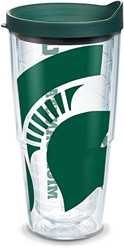 Tervis 1093916 Michigan State University Colossal Wrap Individual Tumbler with Hunter lid, 24 oz, Clear by Tervis Michigan State Spartans Tervis Tumbler