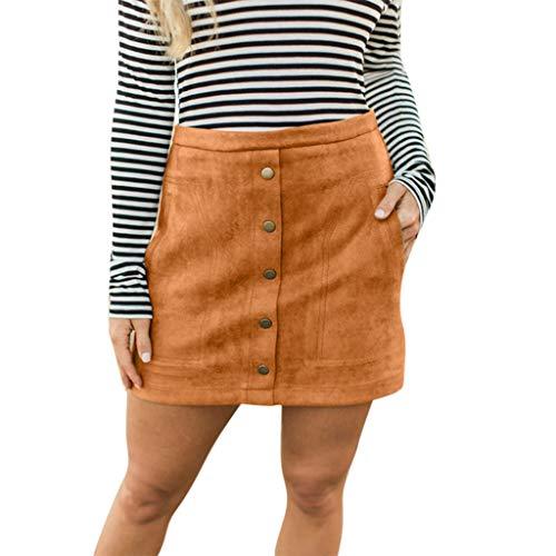 Berimaterry Damen Lässige Retro A-line Cord Minirock mit Buttons Vintage Rock Party Skirt Basic Solid Mini Skater Rock