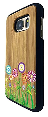 C0712 - Hippie Flower Patch Summer Spring Colourful (2) Design Samsung Galaxy S7 Edge G930 Coque Natural Véritable Bois Real Wood Coque