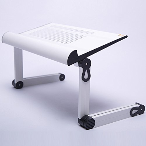 LVZAIXI Bureau de Table d'ordinateur Portable de Wonder Worker Ergonomique Pliant Le Plateau de Refroidissement de Plateau de lit (Couleur : Blanc)