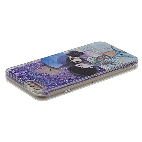 Schutzhülle für iPhone 6 6S Hülle Hardcase Transparent Flüssigkeit Wasser Stil Fließbar Bunte Pulver Entwurf Niedlich Tier Katze Muster Cover Case für Apple iPhone 6S 4.7 inch lila-4