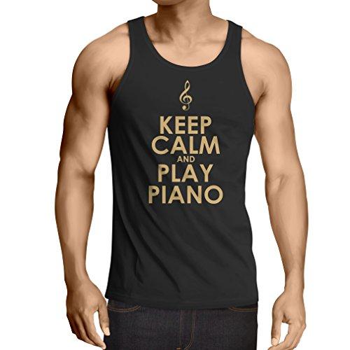 lepni.me Weste Ruhig bleiben und Klavier Spielen, für Musikliebhaber, Pianistengeschenk (XXXX-Large Schwarz Gold) (Halloween Irish Dance)