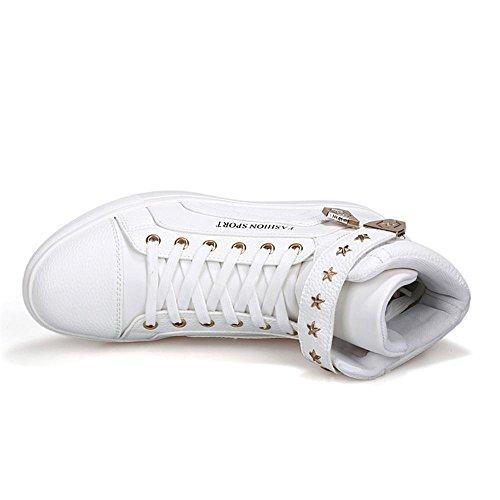 Chaussures De Sport De Badminton Chaussures Pour Hommes Haut-dessus Respirant Cuir Véritable Antidérapant Blanc Usure