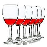Copas de Vino de Cristal Rojo Transparente Juego de 6 + Decantador caja de Regalo Envoltorio Gran Cáliz de Hotel Mejor para Cumpleaños, Aniversario o Regalos de Boda (101ML-300ML-Apto para Lavavajilla