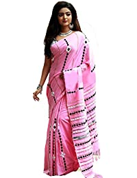 Tant Ghar Women's Cotton Khesh Embroidery Kantha Sarees With Embroidery Blouse (LITE PINK) EK-5