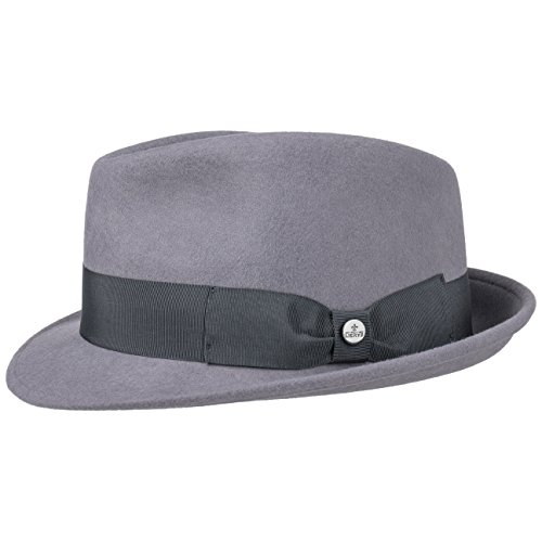 Lierys Classic Wool Trilby Damen/Herren | Hut aus Wollfilz | Fedora Sommer/Winter | Outdoorhut wasserabweisend | Regenhut Packable (knautschbar) | Filzhut grau L (58-59 cm)