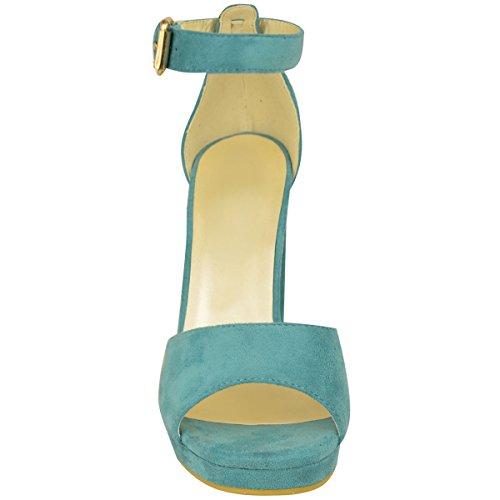 Damen Plateau Block Absatz Kolbig Knöchelriemen Offen Sandalen Größe Minzgrün Kunstwildleder