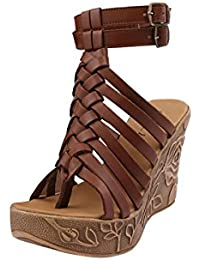 GLETY the shoe parlour BG-4322 Women's Brown Synthetic Leather Wedge Heel Sandal, Size : 38