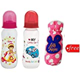 Gilli Shopee Bottle Cover Free With Mee Mee Premium Baby Feeding Bottle, 250ml Pack Of 2 (Red & Pink)