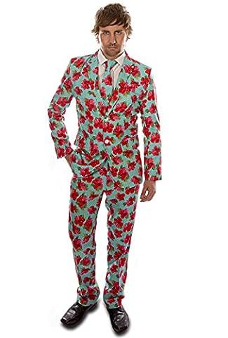 CostumedeStag Suit copierougefleuriHawaiiand'été (hommes:petit)