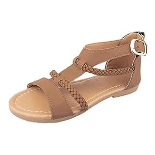 Sandalen Damen Sommer Flip Flops Sandaletten Bohemian Flach Zehentrenner Strandschuhe PU Leder Sandals mit Strass (EU:35, Braun)
