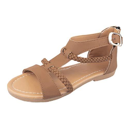 Sandalen Damen Sommer Flip Flops Sandaletten Bohemian Flach Zehentrenner Strandschuhe PU Leder Sandals mit Strass (EU:42, Braun) -
