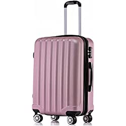 BEIBYE TSA-Schloß 2080 Hangepäck Zwillingsrollen neu Reisekoffer Koffer Trolley Hartschale Set-XL-L-M(Boardcase) in 12 Farben (Rosa, XL-Großer Koffer (76 cm))