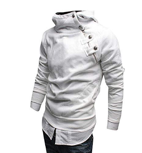 CuteRose Men Side Zip Pullover Thickened Fleece Tunic Hoodie Sweatshirts White XL (Hoodie Zip-up Disney)