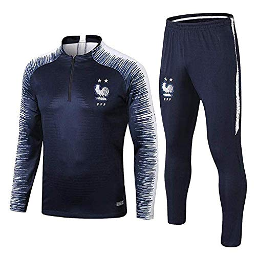 SHCOOCY French Home 2 étoiles de Football à Manches Longues Uniformes Outfield Service Sweat Suit Training Su