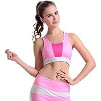 Sujetador Yoga Rosa Costuras Imprimir Colección Corta Recolecta Correr Sin Correr a Prueba de Golpes Sujetador Deportivo Ajustable (tamaño : S)