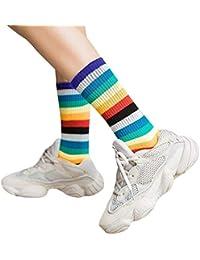 Calze Alte da Donna Calze e collant Abbigliamento Calze a Coste Color Arcobaleno e Scaldacollo a Righe Arcobaleno certylu