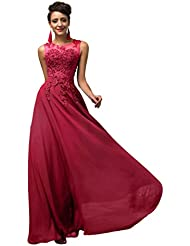 Yafex Damen V-Rückenfrei Chiffon Langes Party Ballkleid Abendkleid ZY007555