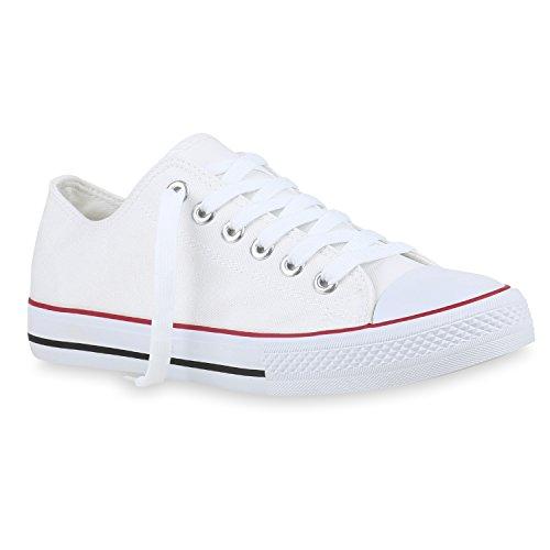 a8556dba899864 Herren Schuhe Sneaker High Basic Schnürschuhe Turnschuhe Freizeit Schuhe  155413 Weiss Agueda 42 Flandell