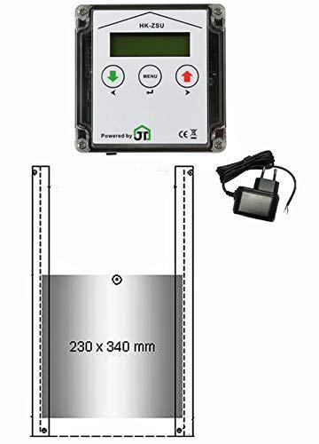 JOSTechnik JT-HK automatische Hühnerklappe 230 x 340 mm mit Zeitschaltuhr und echter Nothaltefunktion