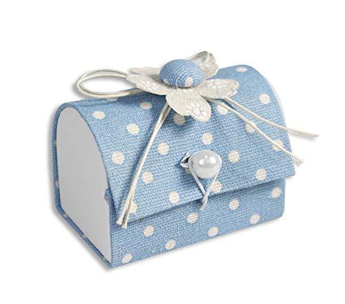 Vetrineinrete® scatoline portaconfetti 36 pezzi a forma di baule per nascita battesimo scatole per confetti bomboniere segnaposto in tessuto per neonato bimbo bimba (celeste) d51