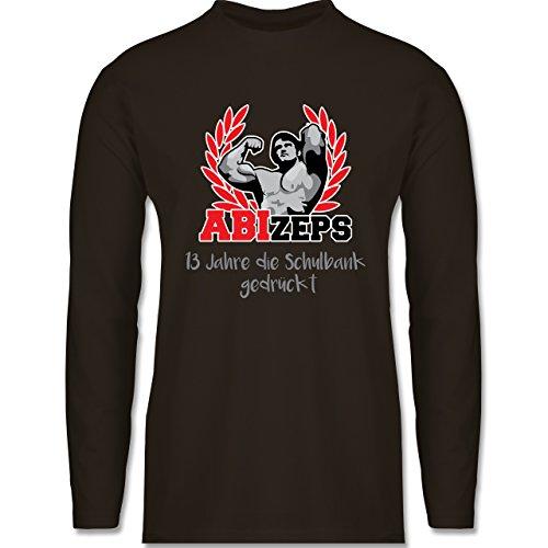 Abi & Abschluss - ABIzeps - 13 Jahre die Schulbank gedrückt - Longsleeve / langärmeliges T-Shirt für Herren Braun