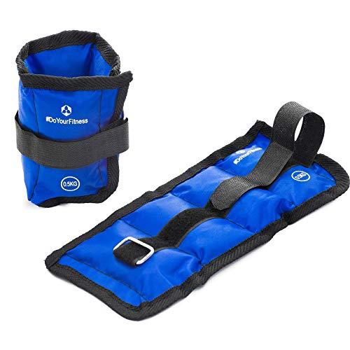 #DoYourFitness® Gewichte für Hand- & Fußgelenk ab 0,5kg bis 3kg - robuster Klettverschluß - Knöchelgewichte/Manschetten - Ausdauer-, Kraft- & Cardiotraining Spartacus 0,5kg / blau (Hand-gewichte-set)