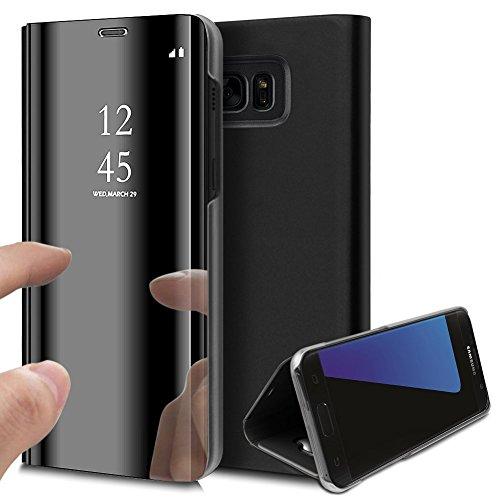 KunyFond Überzug Spiegel Hülle für Samsung Galaxy Note 3 Hülle PU Leder Tache Brieftasche Schutzhülle im Bookstyle Mirror Effect Handyhülle Standing Slim Fit Cover Schale Shell (Schwarz)