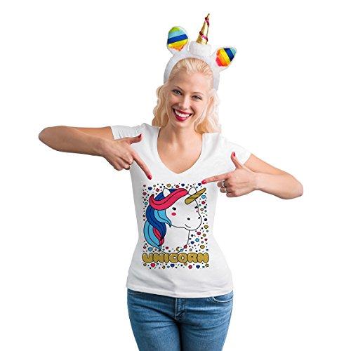 Süßes Einhorn Kostüm - Damen Shirt + Haarreif