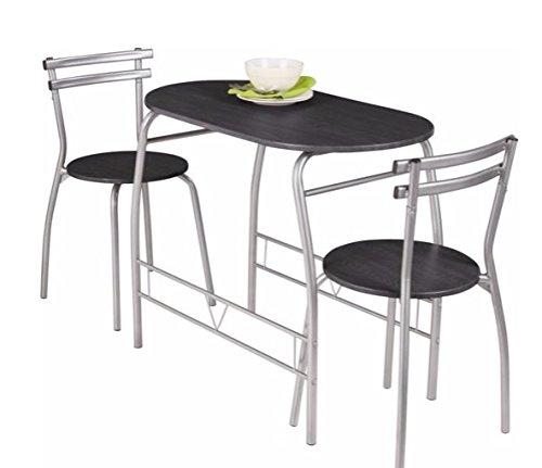 Empire Sterling Vegas Negro Mesa de Comedor y 2 sillas.: Amazon.es ...