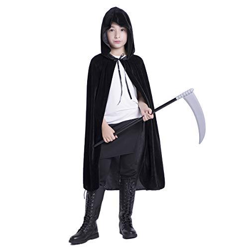 Huntforgold Umhang mit Kapuze Lange Samt Cape für Halloween Karneval Fasching Vampir - Cape Samt Kind Kostüm