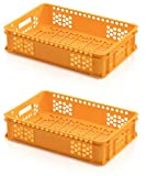 2x Bäckerkiste 60 x 40 x 13 gelb * Gemüsekiste durchbrochen Eurobehälter Süßwaren Bäcke