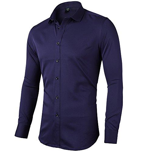 INFlATION Herren Hemd aus Bambusfaser umweltfreudlich Elastisch Slim Fit für Freizeit Business Hochzeit Reine Farbe Hemd Langarm,DE XS (Etikette 39),Navy Blau (Hemd Blaues Anzug, Schwarzen)