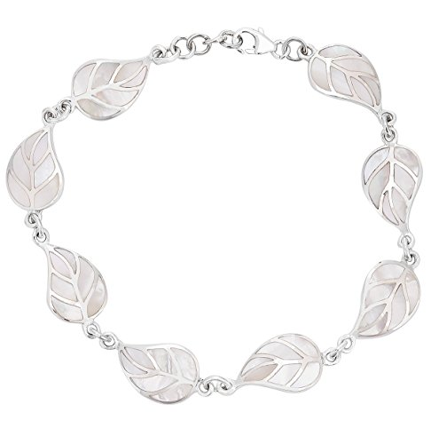 DTPsilver - Bracelet Femme en Argent Fin 925 avec Nacre en Forme de Feuille