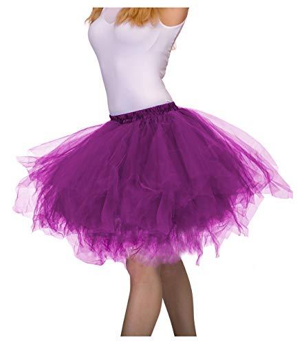 Dancina Damen Petticoat 50er Jahre Vintage Tutu Tüllrock [Sticker XXL] Lila Gr. 42-46