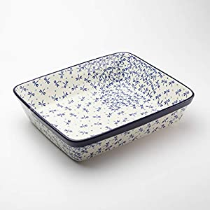 Polish Pottery Rectangular Lasagne Dish Dragonfly 28 x 23cm