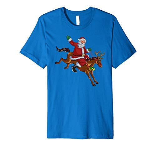 (Christmas Horse Riding Santa Vintage Graphic T-shirt)