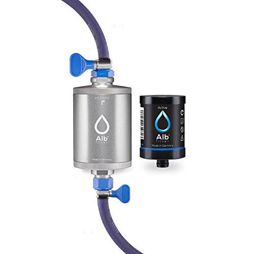 Alb Filter Travel Active Trinkwasserfilter mit Anschluss-Set für Camping, Wohnwagen und Caravan. Reduziert Schadstoffe, Schwermetalle, Mikro-Plastik. Qualität Made in Germany Silber