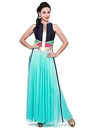 Jay Varudi Creation Women's Sky Blue Semi-Stiched Free Size Dress (JVC_Free Size_Sky Blue)