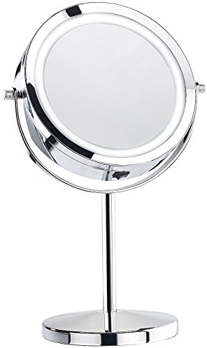 Sichler Beauty LED Spiegel: Stand-Kosmetikspiegel mit 18 LED, 3-fache Vergrößerung (Standspiegel)