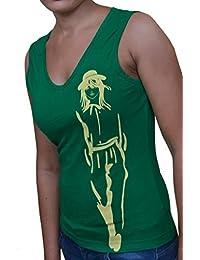 FICUSTER Women's/Girl's Sleevless Green Top - MEDIUM