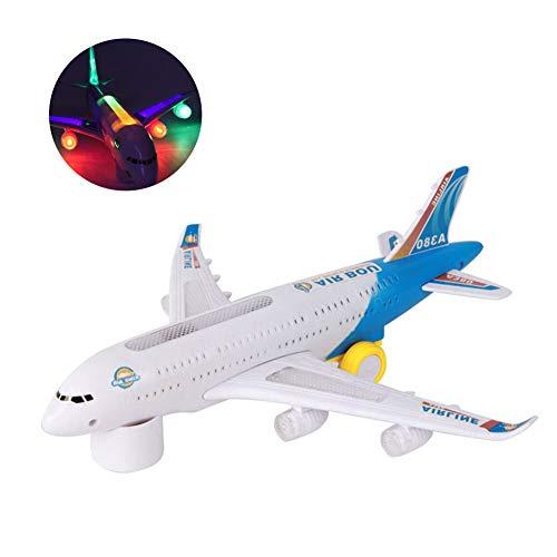 Comtervi Electric Airplane Toy Kinder Spielzeug Flugzeug Airbus mit Blinkenden Lichtern, Realistische Flugzeug Jet Engine Sounds, Änderungen Richtung Auto für Kinder