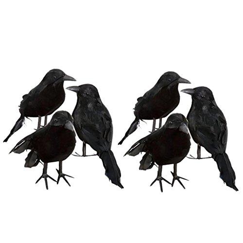 MagiDeal 6er-Set Rabe/Krähe Figur mit schwarzen Federn, Gothic Dekor für Thema Party/Halloween (Halloween Party Themen)