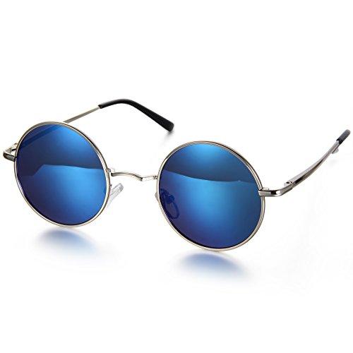 Aroncent Herren Damen Sonnenbrille, Retro Rund Kreis Strahlenschutz Polarisierte Sonnenbrille, Vollrand Sonnenbrille, Blau