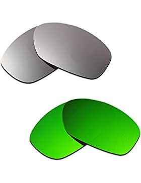 Hkuco Plus Mens Replacement Lenses For Oakley Pit Bull Titanium/Emerald Green Sunglasses