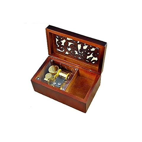 Laxury Spieluhr mit kreativer Gravur, Holz, 18 Noten, zum Aufziehen,