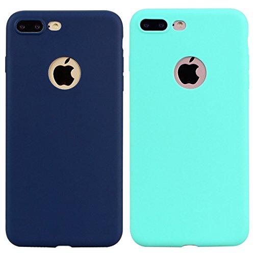 [2 Pieces] Cover iPhone 7 Plus (5.5),ToDo Custodia iPhone 7 Plus (5.5) Gel Silicone TPU Morbido Elegant Ultra Tinta Unita Sottile Opaco Flessibile Gomma Cassa Protettiva Antiurto AntiGraffio Antisci Menta verde + Blu