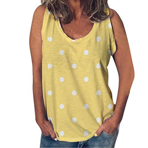 SHE.White Damen Dots Druck Tank Top Ärmellos Shirt Sommer Rundhals Oberteile (Mittelalterliche Kleider Verkauf Für)