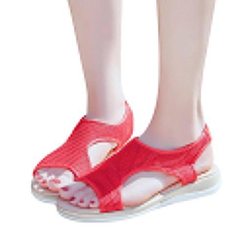 Beikoard promozione della moda sandali donna taco sandali tacco piatto traspirante con tacco piatto da donna traspirante (rosso, 40)